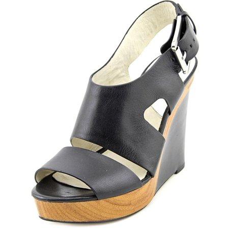 45b0268653f0 Michael Michael Kors - Michael Michael Kors Carla Platform Wedge Women  Leather Black Wedge Sandal - Walmart.com