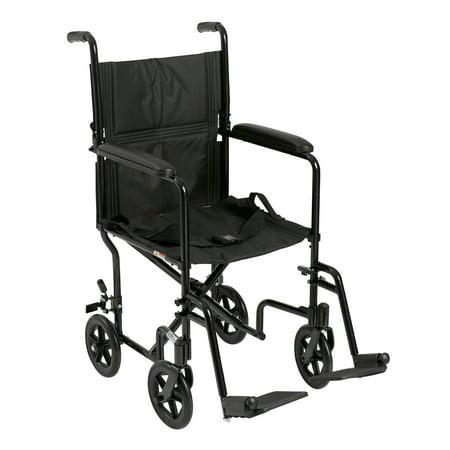 "Drive Medical Lightweight Transport Wheelchair, 17"" Seat, Black"