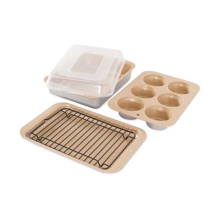 "Nordic Ware Nonstick Compact Ovenware 5 Pc Bake Set, 8.5""L x 6.5""W x 1.63""H and 8.5""L x 6.5 W x 0.625""H Broiler Set and 6 - 2"" cup muffin pan"