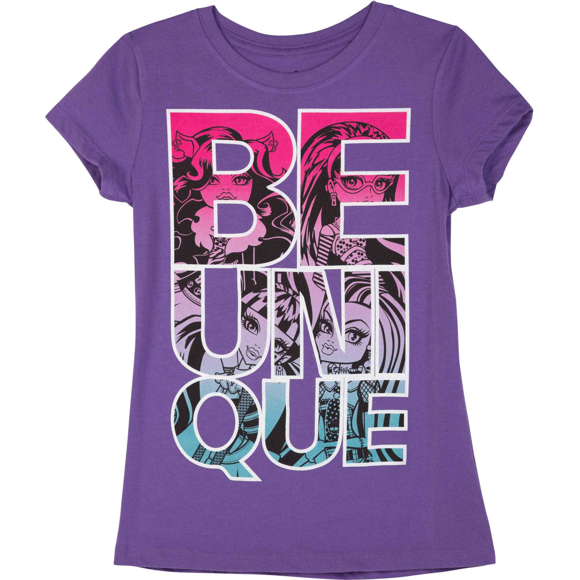 Monster High Unique Monster High Type Girls' Short Sleeve Crew Neck Graphic Tee
