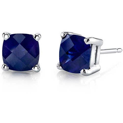 2.50 Carat T.G.W. Cushion-Cut Created Blue Sapphire 14kt White Gold Stud Earrings