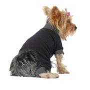 Black Gray Cuff Neckline Trim Pajamas For Dog - Extra Small