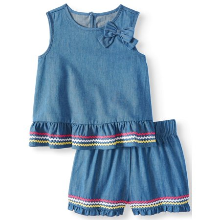 Wonder Nation Peplum Top and Denim Shorts, 2pc Outfit Set (Toddler (Wonder Girl Paige Satin)