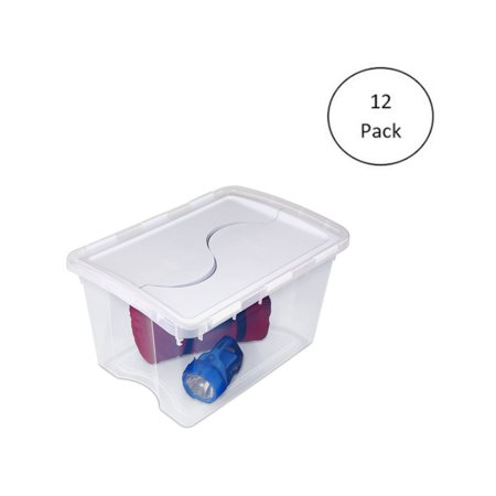 Sterilite 1914 Single 48 Quart Clear Hinged Lid Storage Tote Container (12 Pack)