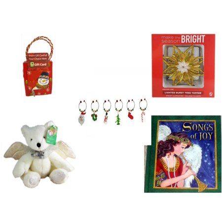 Christmas Fun Gift Bundle [5 Piece] - Musical Gift Card Holder Snowman - Deck The Halls Lighted Burst Gold Tree Topper - LSArts Wine Glass Charms  Set of 6 - Angel Bear  8