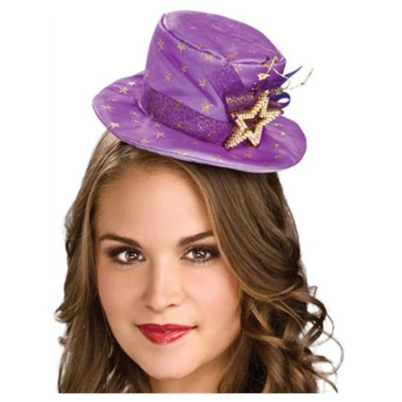 Women's Deluxe Purple Gold Stars Mini Costume Top Hat - Mini Costumes