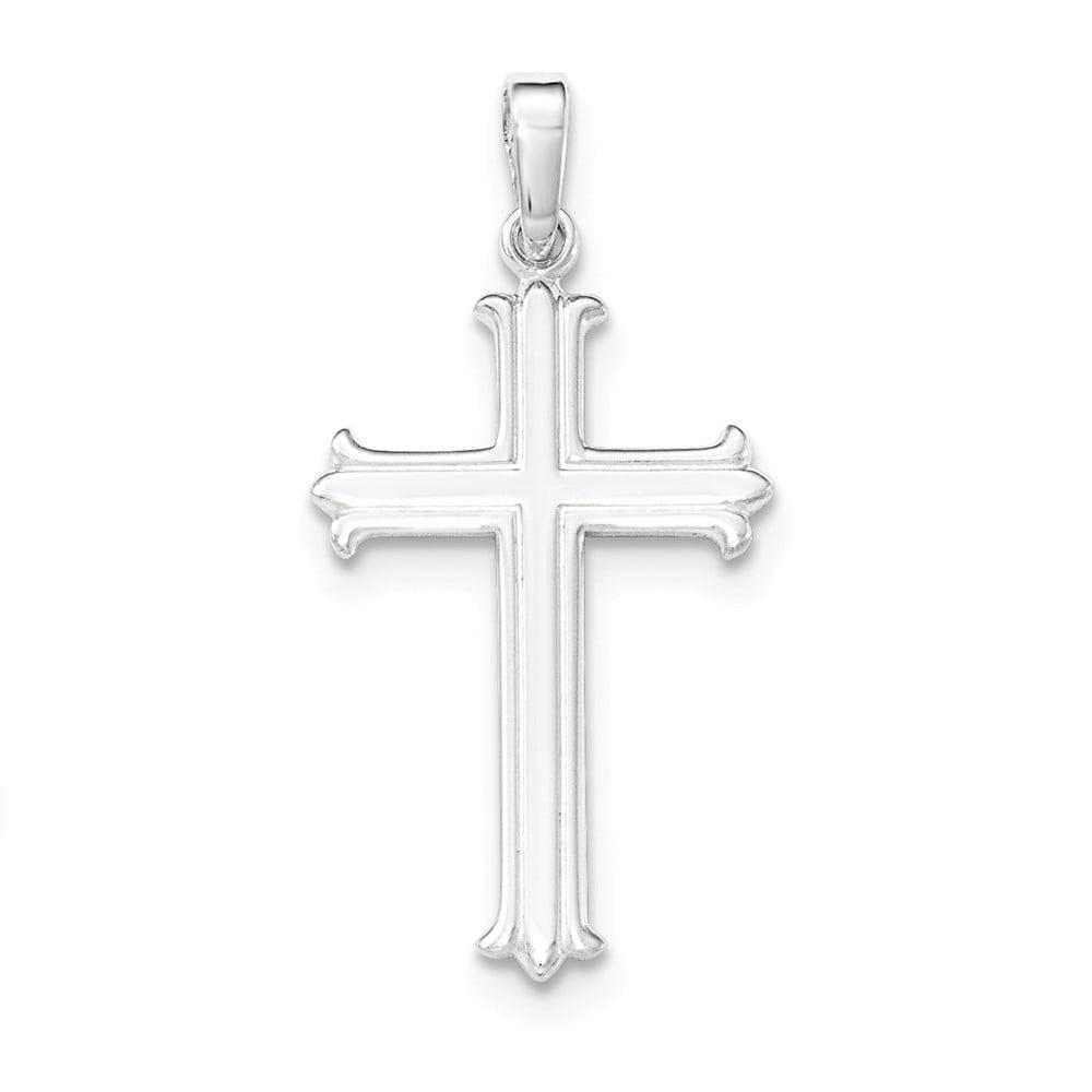 Goldia Sterling Silver Fleur De Lis Cross Charm