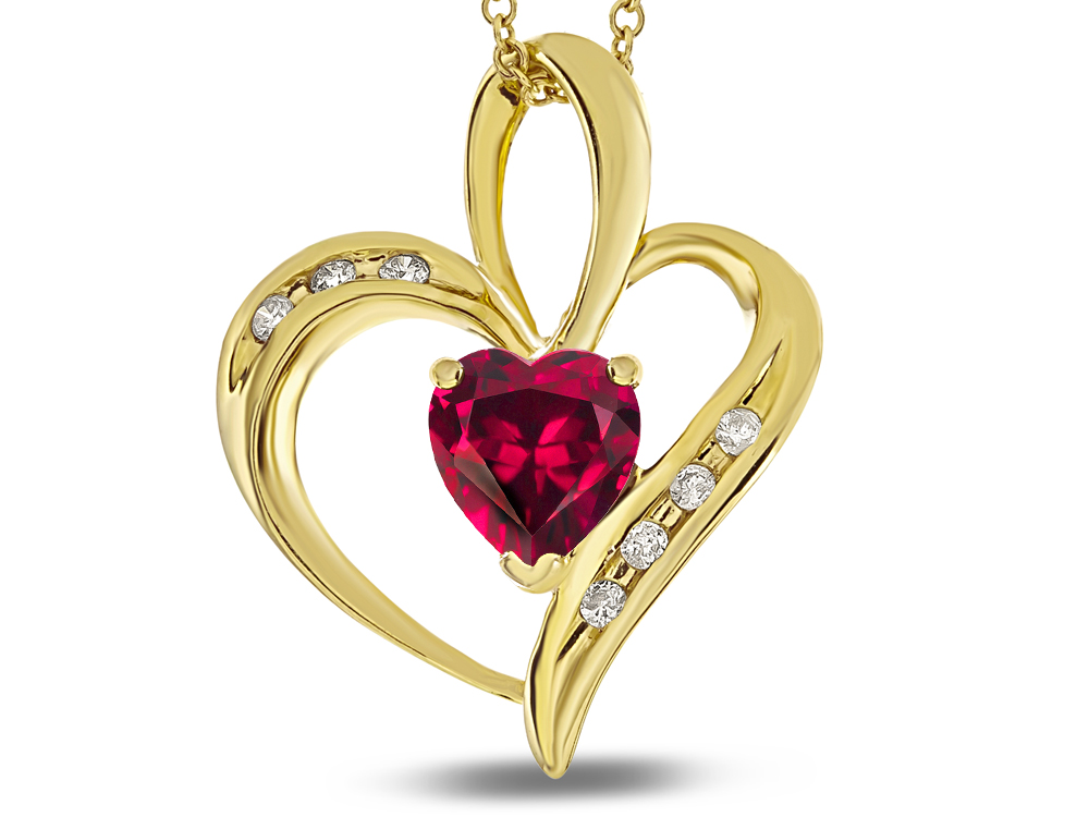 Star K Heart Shape 6mm Created Ruby Pendant Necklace in 14 kt Yellow Gold by