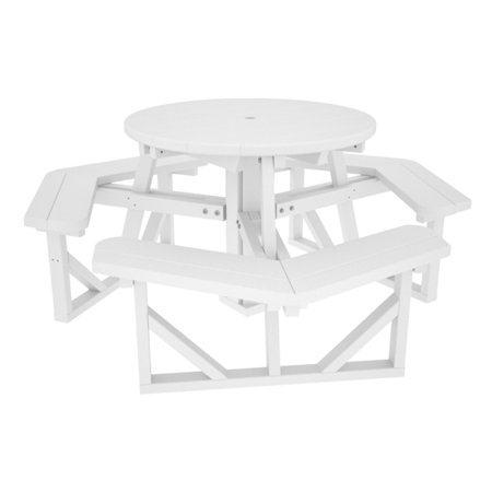 POLYWOOD Park In Round Recycled Plastic Picnic Table - Recycled plastic round picnic table