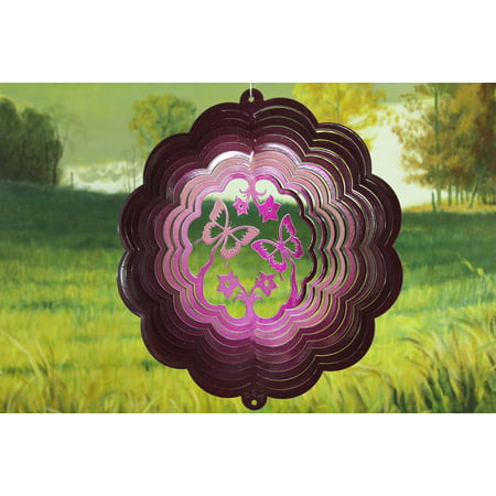 "12"" Butterfly Wind Spinner in Dark Raspberry Buttflies Hanging Garden Decor Sock thumbnail"
