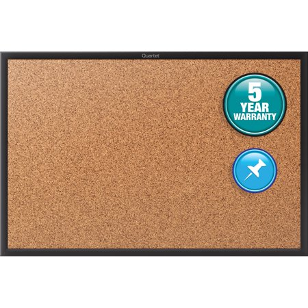 Quartet Cork Bulletin Board  24   X 18    Black Aluminum Frame