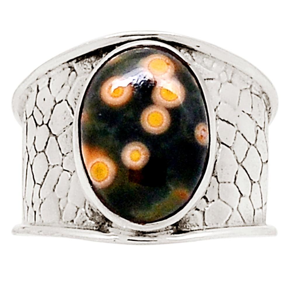 Good Looking Ocean Jasper Gemstone 925 Sterling Silver Ring Size US 8 Handcrafted Jewelry