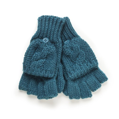 Private Label Women's Solid Cable Poptop Gloves, Teal