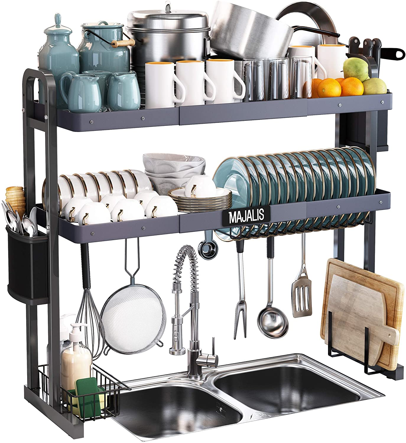 Over The Sink Dish Drying Rack Majalis Stainless Steel 2 Tier Large Dish Drainer Above Sink Adjustable 27 5 33 5 Expandable Kitchen Counter Organizer Storage Space Saver Shelf With 6 Hooks