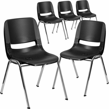 Flash Furniture 5-Pack HERCULES Series 661 lb Capacity Ergonomic Shell Stack Chair with Chrome Frame and 16