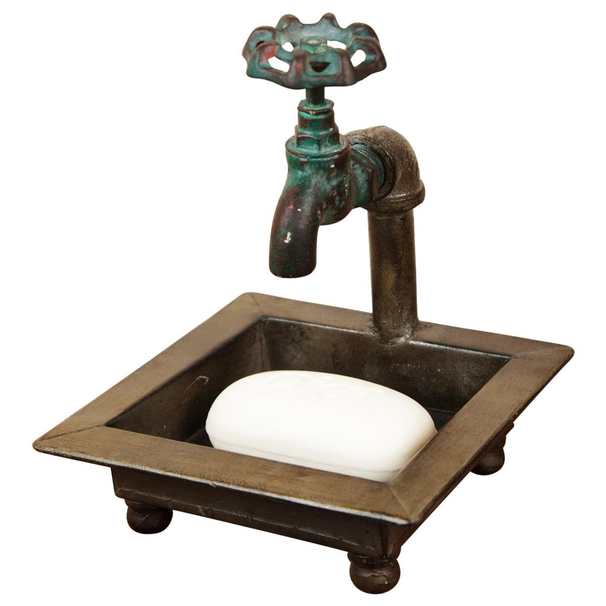 Farmhouse Spigot Soap And Towel Holder Bathroom Rustic Decor