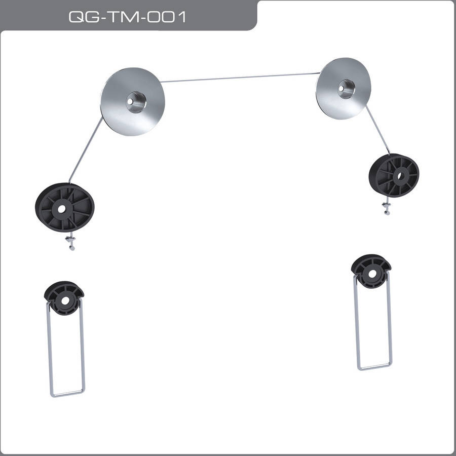"QualGear QG-TM-001 Universal Ultra-Slim Low-Profile Picture Hanging-Style Wire Rope Wall Mount for 37""-70"" LED TVs"