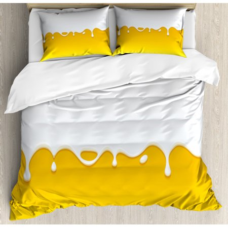 Yellow and White King Size Duvet Cover Set, Dripping White Milk Cream Paint Yogurt on Yellow Honey Background Print, Decorative 3 Piece Bedding Set with 2 Pillow Shams, Yellow White, by Ambesonne Fire King White Milk
