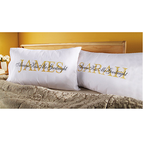 Personalized Always Kiss Me Goodnight Pillowcase - Set of 2