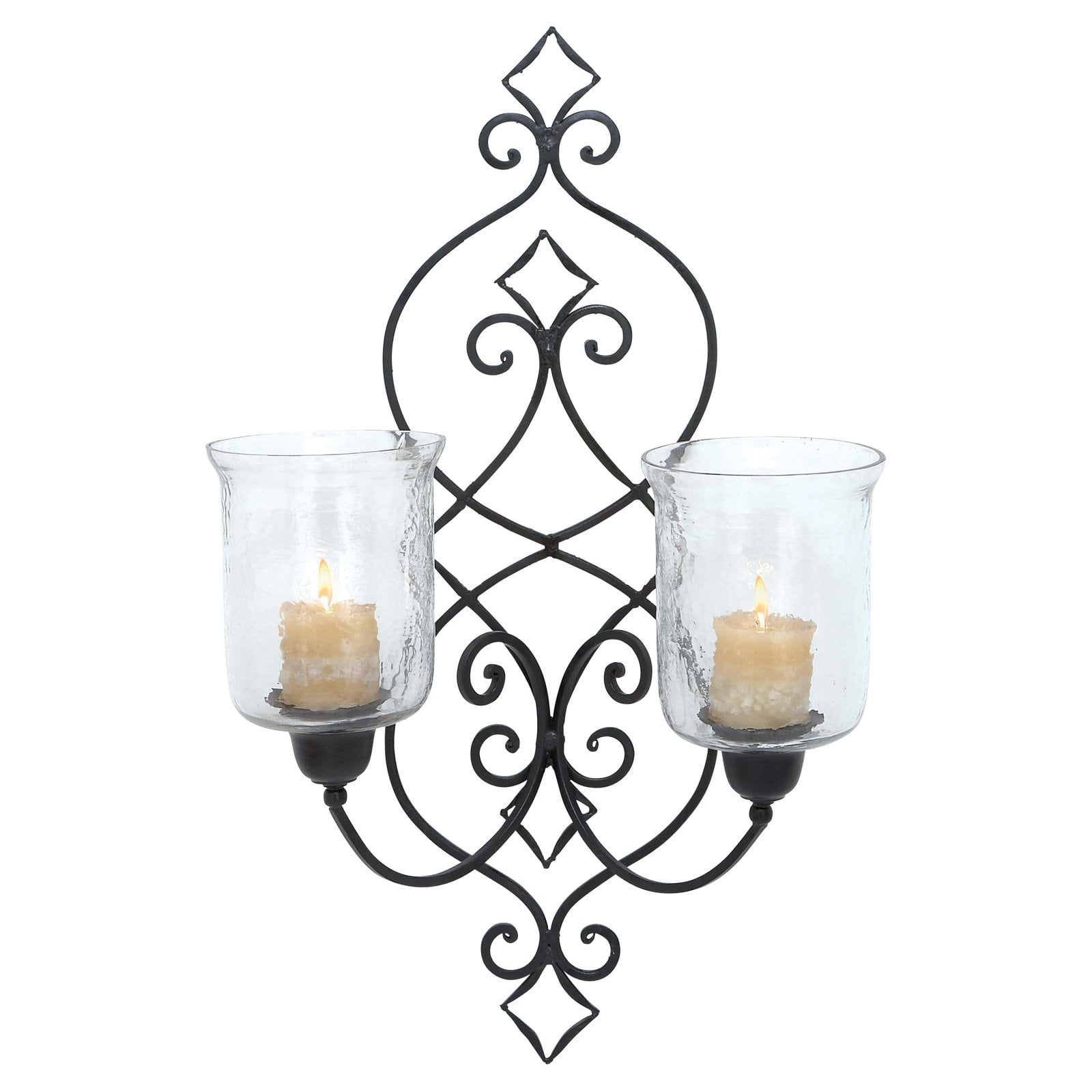 DecMode 31 in. Glass Wall Sconce Black by GwG Outlet
