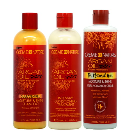 "Crème of Nature Argan Oil Moisture Shampoo + Intensive Conditioning Treatment + Curl Activator ""Set"""