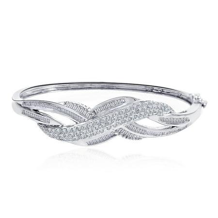 (2.50 Carat G-I1 Round & Baguette Cut Diamond Bangle Bracelet 14K White Gold)