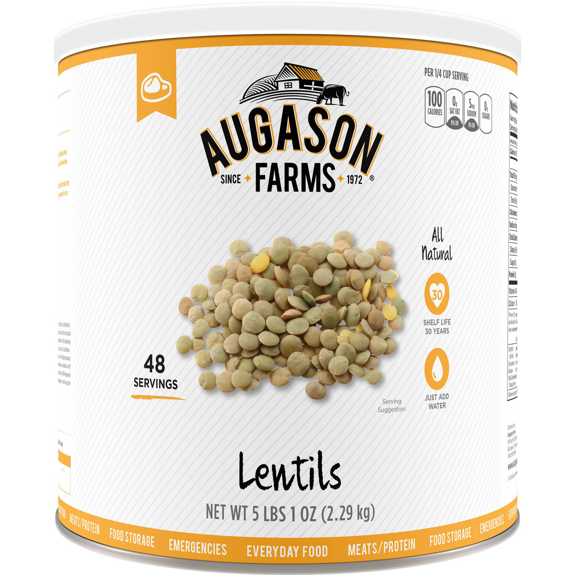Augason Farms Lentils, 80 oz