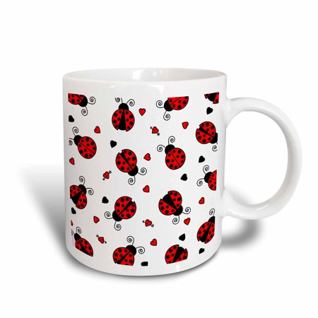 3dRose Love Bugs Red Ladybug Print with Hearts, Ceramic Mug, 15-ounce