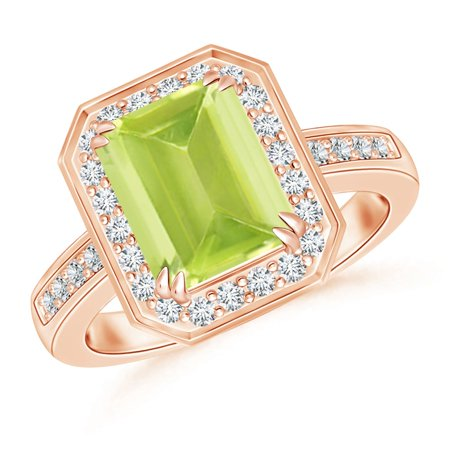 August Birthstone Ring - Emerald-Cut Peridot Engagement Ring with Diamond Halo in 14K Rose Gold (9x7mm Peridot) - SR0683PD-RG-A-9x7-9