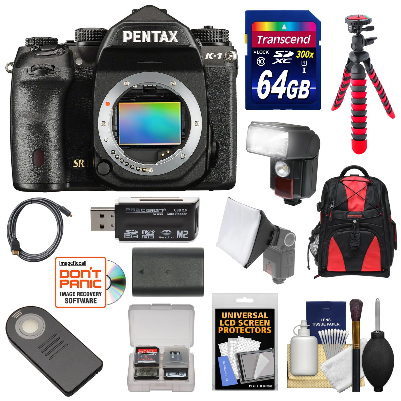 Pentax K-1 Mark II Full Frame Wi-Fi Digital SLR Camera Body with 64GB Card + Battery + Flash + Backpack +... by Pentax
