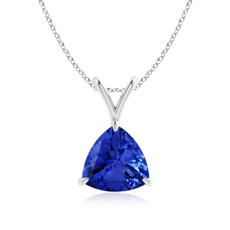 Mother's Day Jewelry - Claw-Set Trillion Tanzanite V-Bale Pendant in 14K White Gold (8mm Tanzanite) - SP0751T-WG-AAA-8