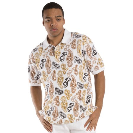 Vibes Men's Paisley Printed Cotton Pique Short Sleeve Polo Shirts Relax Fit ()