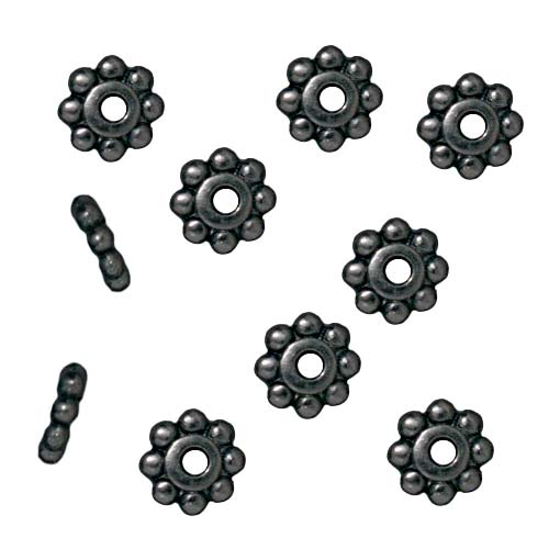 Black Finish Pewter Daisy Spacer Beads 6mm (10)