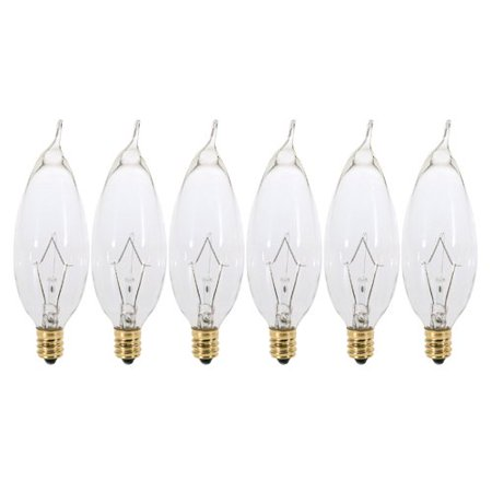 Watt Flame Tip Chandelier Bulb - (6 Pack) 60 Watt Clear Candelabra Base (E12) Flame Tip 120V Chandelier Bulbs