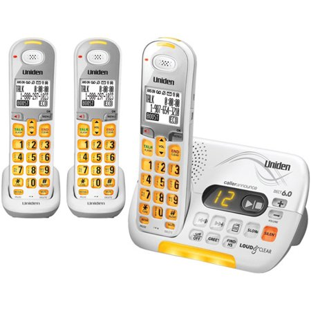 Uniden D3097-3 DECT 6.0 Amplified Cordless Phone w/ 2 Extra Handsets Amplified Cordless Telephone
