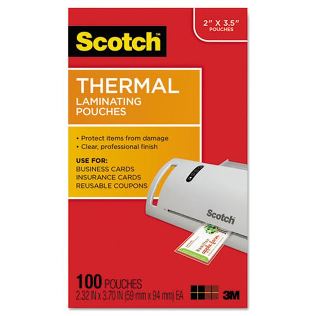 3M & Commercial Tape Div TP5851100 Business Card Size Thermal Laminating Pouches, 5 mil.