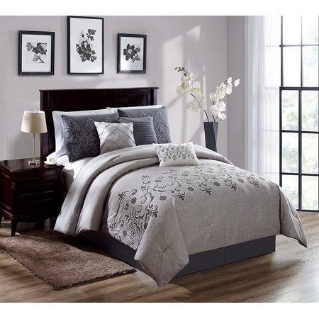 Chezmoi Collection Catalina 7-Piece Gray White Embroidered Floral Scroll Comforter Set