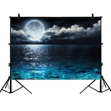 PHFZK 7x5ft Ocean Landscape Backdrops, Romantic Panorama with Full Moon on Sea Photography Backdrops Polyester Photo Background Studio Props](Full Moon Background)
