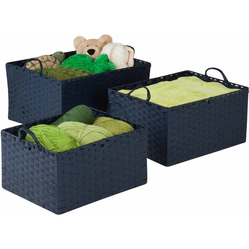 Honey-Can-Do Paper Rope Basket, Blue, 3-Pack