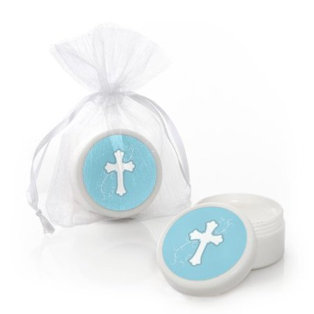 Little Miracle Boy Blue & Gray Cross - Baptism Lip Balm Party Favors (Set of 12)](Baptism Party)