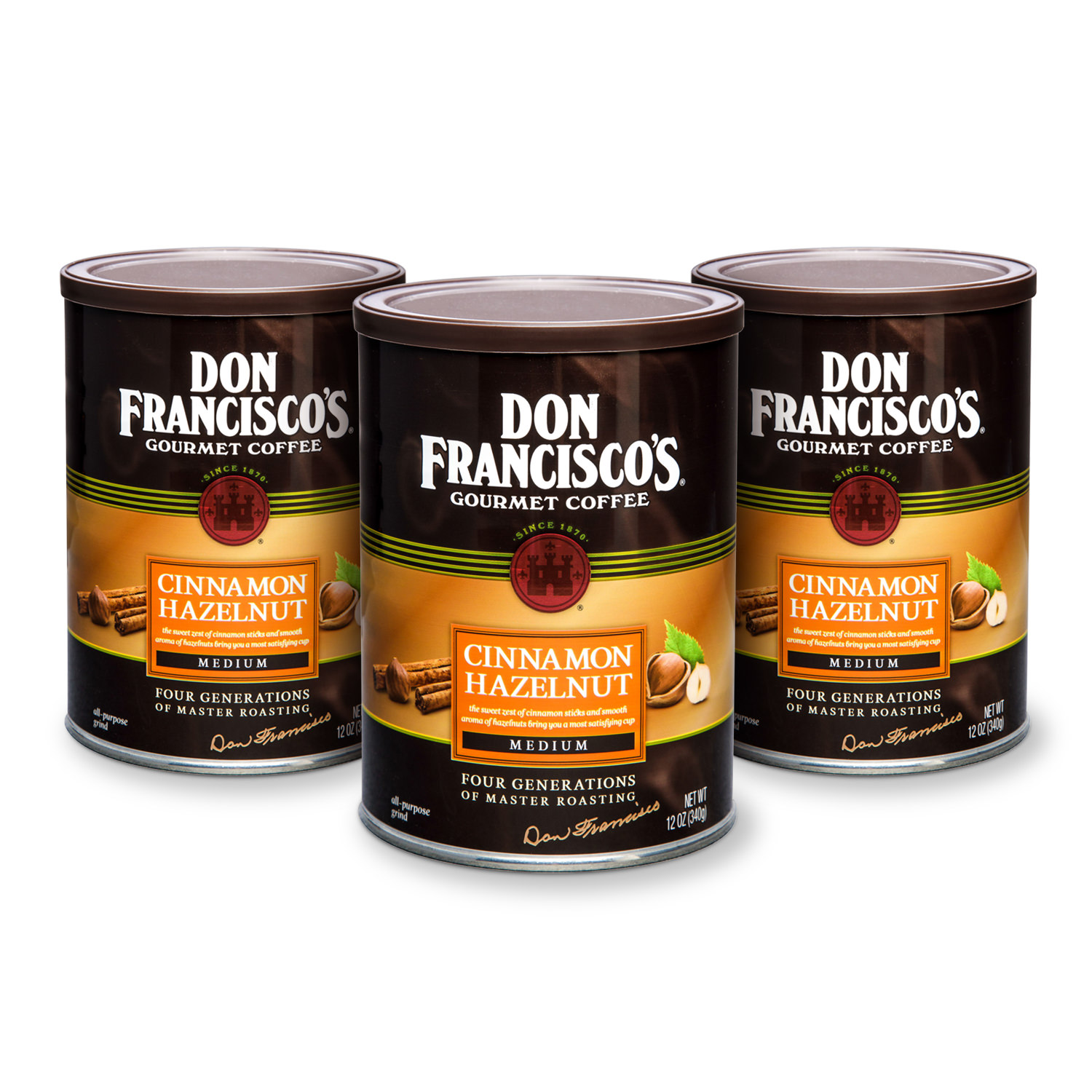 Don Francisco's Canned Coffee, Cinnamon Hazelnut Flavored, 12-Ounce (Pack of 3)