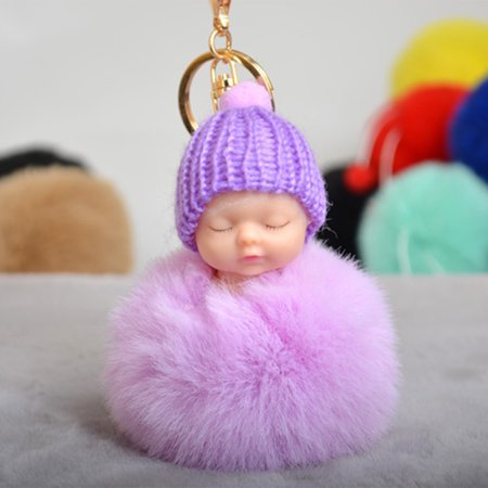 Disco Ball Keychains (Cute Small Sleeping Baby Doll Fake Fur Fluffy Ball Keychain Bag Key Rings Pendant Ornaments Gifts Color)