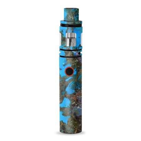 Skin Decal for Smok Stick V8 Pen Vape / stab wood oil paint blue green