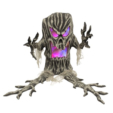 Halloween Haunters Standing Plastic Tree Stump with Strobing Color Changing LED Light - Prop Decoration