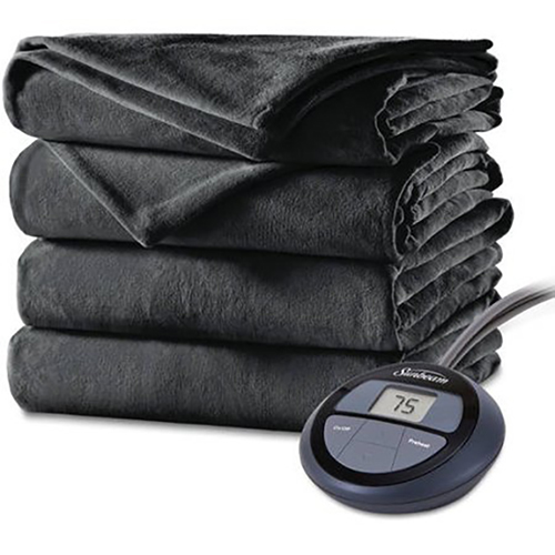 Sunbeam Heated Electric Velvet Plush Blanket with 10 heat settings, King, Slate