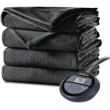 Sunbeam Heated Electric Velvet Plush Blanket with 10 heat settings, King, Slate