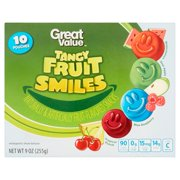 Great Value Tangy Fruit Smiles Naturally & Artificially Fruit-Flavored Snacks 10 Pouches 9 oz
