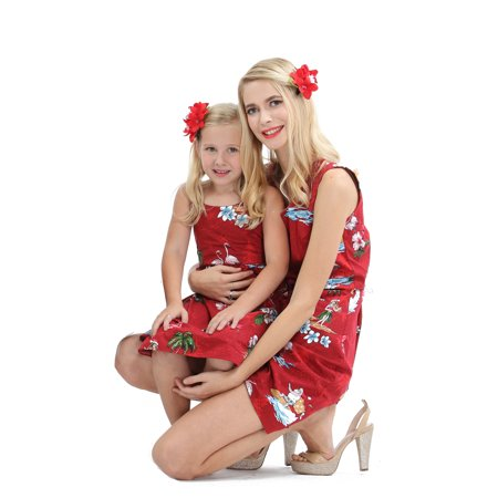 Santa Outfit Women (Matching Mother Daughter Hawaiian Luau Outfit Christmas Women Girl Dress Red Santa Flamingo)