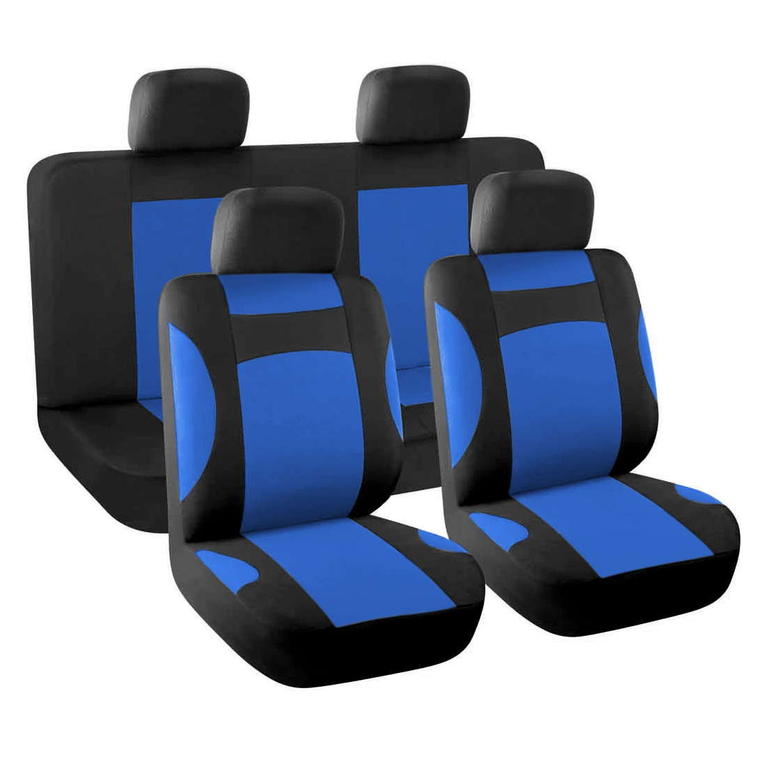 Car Seat Covers Full Set for Auto with 4 Head Rests Red