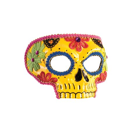 Day Of The Dead Yellow Mask Halloween Costume Accessory - Day Of The Dead Costume Mask